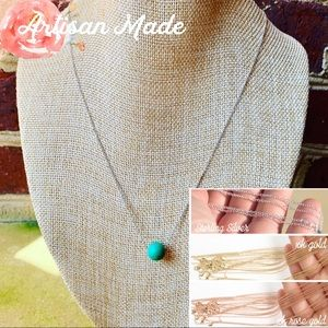 NEW Turquoise Bead Silver Rose Gold Necklace